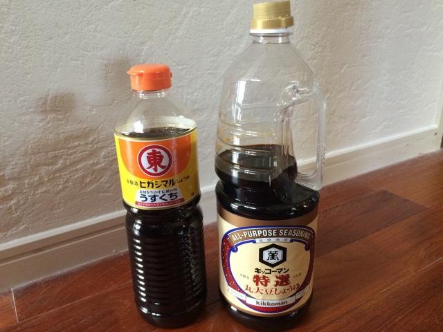 薄口醤油と濃口醤油